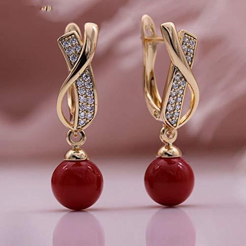 CHQSMZ Pendiente Nuevos Pendientes Largos Huecos Pendientes Colgantes de Perlas de Concha Blanca 585 Oro Rosa Circón Natural Mujeres Bohemia Joyería de Moda Fina Coral Rojo