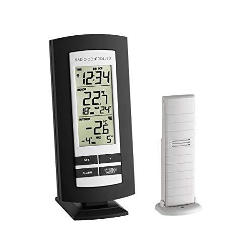 TFA Dostmann Funk-Thermometer Basic, 30.3037.01, für die Innen- & Außentemperatur, Funkuhr mit Alarm, mit Außensender