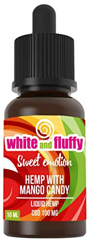 "100mg Liquid Aroma - White and Fluffy® Sweet Emotion""HEMP WITH MANGO CANDY"" - PREMIUM Liquid ohne Nikotin • PG VG Terpene Liquid 10ml nikotinfrei - Test-Note 1,2"