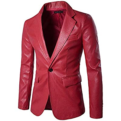 LISTHA Leather Suit Coat Men's Single Row Buckle Blazer Jacket Classic PU Coat Red
