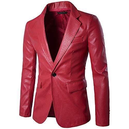 Cwemimifa Regular Herren Anzug 3Teiler Sakko Hose Weste Büro Business Hochzeit, Herrenmode Reine Farbe Leder lässig einreihige Schnalle Leder Anzug Mantel, Rot, XL