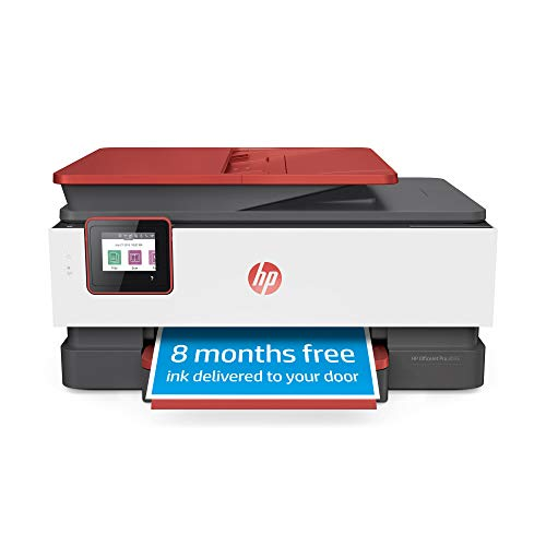 HP OfficeJet Pro 8035 All-in-One Wireless Printer - Includes 8 Months of Ink, HP Instant Ink, Works with Alexa - Coral (4KJ65A)