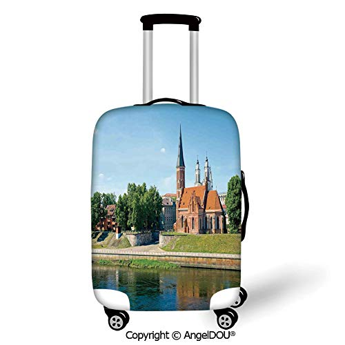 YOLIYANA Printed Thicker Travel Suitcase Protective Cover Cityscape Old Town Day Time Landscape Historical Church by the River European Culture Deco Multi Luggage Case Travel Accessories.