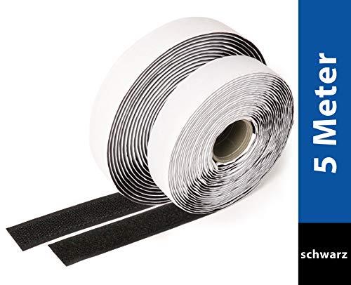 iLP Klettband Selbstklebend Schwarz - 5 Meter Klebe Klettband zum Nähen - Klettverschluss Selbstklebend 20 mm Breit - Extra Stark - Je 1 Rolle Flauschband und Hakenband