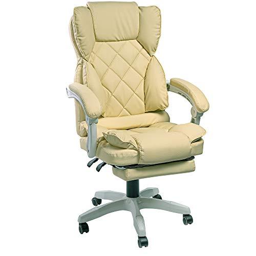 Schreibtischstuhl Design Bürostuhl TV Sessel Chefsessel Relax & Home Office, Farbe:Beige