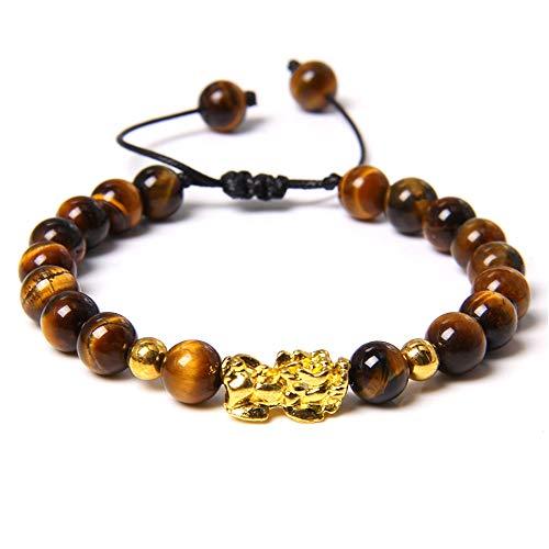CLEARNICE Pulsera Trenzada Más Reciente Feng Shui Tiger Eye Stone Beads Pulsera para Hombres Mujeres Unisex Oro Pixiu Riqueza Buena Suerte Joyería Regalos Pulsera Ajustable Longitud 19Cm
