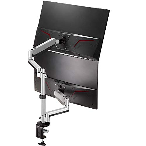 AVLT Dual 13'-32' Stacked Monitor Arm Desk Mount fits Two Flat/Curved Monitor Full Motion Height Swivel Tilt Rotation Adjustable Monitor Arm - Extra Tall/VESA/C-Clamp/Grommet