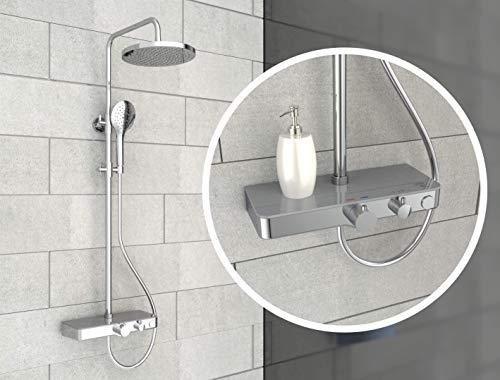EISL DX1105CST FUTURA Wellness Duschsystem mit Thermostat Glasablage, Duschpaneel mit Armatur, Komplett Duschamaturenset (Regendusche mit Wandhalterung, Duschsäule, Duscharmatur) Grau Chrom