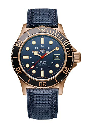 Glycine Combat Herren Uhr analog Automatik mit Leder Armband GL0242