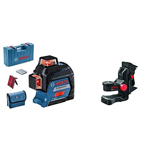 Bosch Professional Linienlaser GLL 3-80 (roter Laser, max. Arbeitsbereich: 30 m, 4x AA Batterie, im Handwerkerkoffer) & 0601015A01 Deckenklemme BM 1
