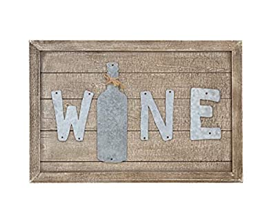 Parisloft Distressed Wood Framed Wine Sign Decor with Galvanized Wine Lettering Hanging Decor, Funny Wall Art, Wine Bottle Shaped Decorative Signs