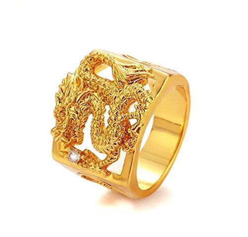 Devastating Designs 24K Gold Filled Men's Women's Dragon Ring and Austrian Crystal (9)