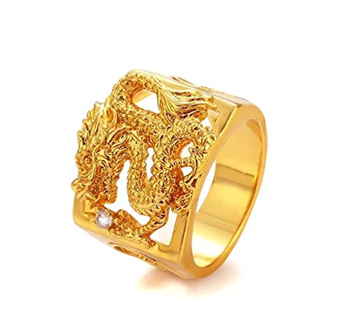 Devastating Designs 24K Gold Filled Men's Women's Dragon Ring and Austrian Crystal (9)