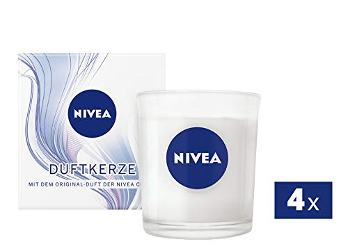 NIVEA Duftkerze mit dem Original-Duft der NIVEA Creme, Kerze im Glas mit der bekannten NIVEA Creme-Note, weiß, 4er Pack