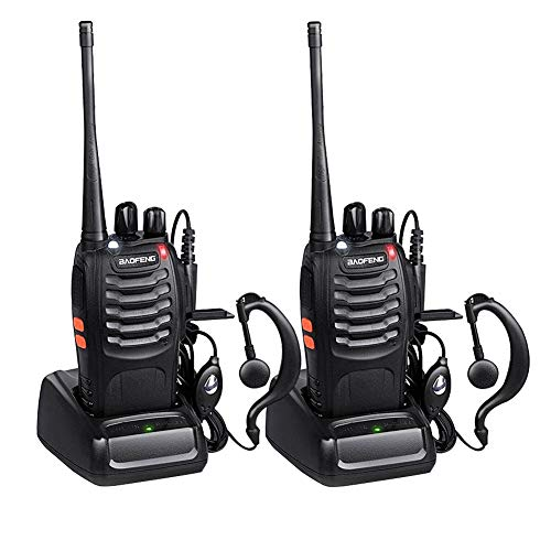 Baofeng Long Range Walkie Talkies FRS Two Way Radios with Earpiece 2 Pack UHF Handheld Reachargeble BF-888s Interphone for Adults or Kids Hiking Biking Camping Li-ion Battery and Charger Included