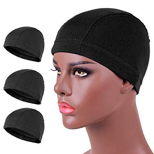3-Packs Small Dome Wig Cap - Spandex Ultra Stretch Dome Cap for Making Wigs, Elastic Hairnets Wig Caps for Men Women (Black)