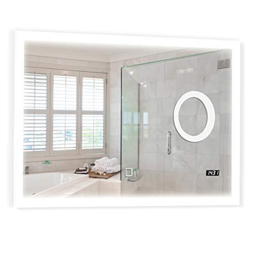 Badspiegel mit LED Beleuchtung - EEK A++, Touchschalter, Dimmbar 3in1 Einstellbar, Digitaluhr, Größen und Modellauswahl - Badezimmerspiegel, Wandspiegel, LED Spiegel (3-fach Makeup+Uhr, 80x60cm)