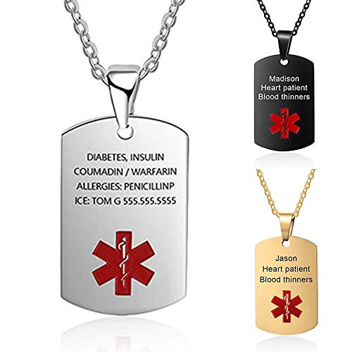 DaMei Medical Alert ID Necklace for Men Women Stainless Steel Dog Tag Emergency Med Alert Necklace for Men & Women Free Engraving