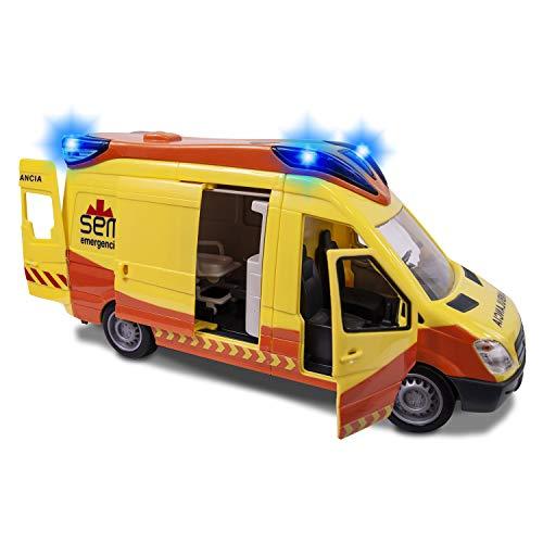 Dickie Toys-Ambulancia SEM de 34cm con Luz y Sonido 1166002, color amarillo (Simba