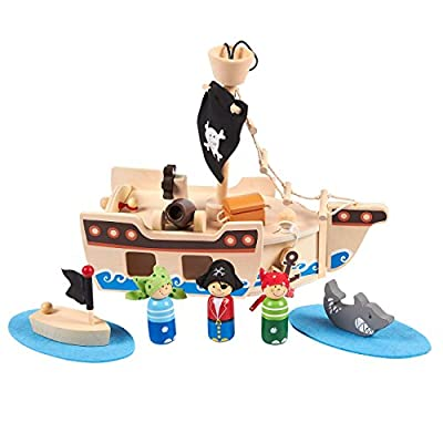 Pirate Ship Toy, Wooden Pirates (11 Pieces)