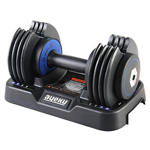 AyeKu Adjustable Dumbbell - Fast Weight Adjust from 5-10-15-20-25lb by Spinning Handle bar, Combines 5 Sets of Weights into one for Multiple use of Strength Training (Blue Single)