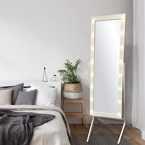 commercial eHomeProducts White LED Light Chevalwood Floor Mirror Stand Hollywood Style… cheval mirror ikea