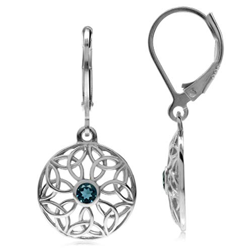 Silvershake Genuine London Blue Topaz 925 Sterling Silver Triquetra Celtic Knot Circle Leverback Dangle Earrings