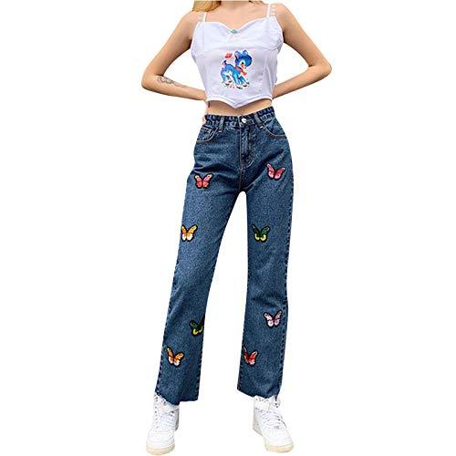 LoveLeiter Damen Jeans Y2K Style Vintage Jeanshose mit High Waist Harajuku Pants Casual Slim Freizeithose Einfarbig Denim Hose Streetwear Loose Casual Baggy Hose 78er Vintage E-Girl Schlagjeans Hose