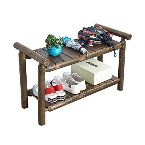 Organizador para Zapatos Estante de zapatos de madera retro de 2 capas Sala de estar Dormitorio Baño Estante de almacenamiento simple Soporte de exhibición multifunción Marco de flores Muebles decorat