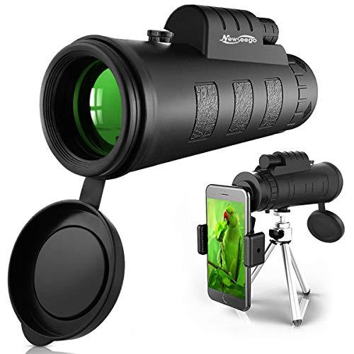 Newseego 50x60 Telescopio Monocular, HD de Alta Potencia con Clip de Teléfono y Trípode para Teléfono Celular, Telescopio de Doble Enfoque BAK4 Prism para Observación de Aves, Turismo