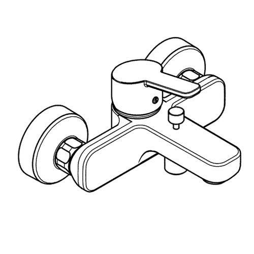 Kludi – Wannen-Einhebelmischer Logo Neo mit Umstellung Wanne/Brause, Chrom - 2