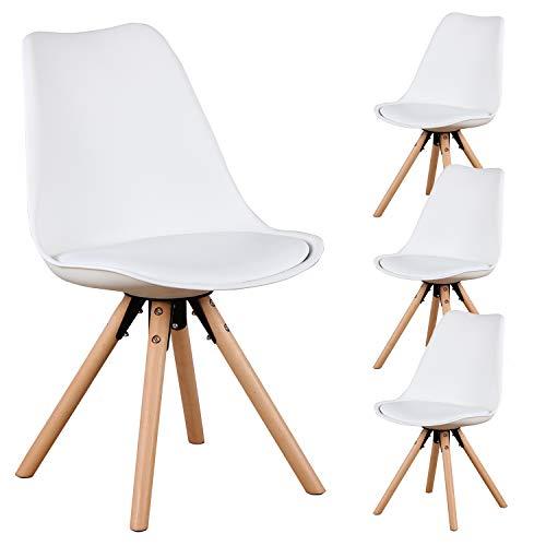 N / A MUEBLES HOME - Juego de 4 sillas de comedor, estilo moderno, ensambladas, diseño de silla tipo concha, con patas de madera y respaldo, cojín suave, para comedor, dormitorio, sala de estar
