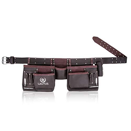 LAUTUS Oil Tanned Leather Tool Belt Pouch Bag, Carpenter, Construction, Framers, Handyman, Electrician - 100% LEATHER