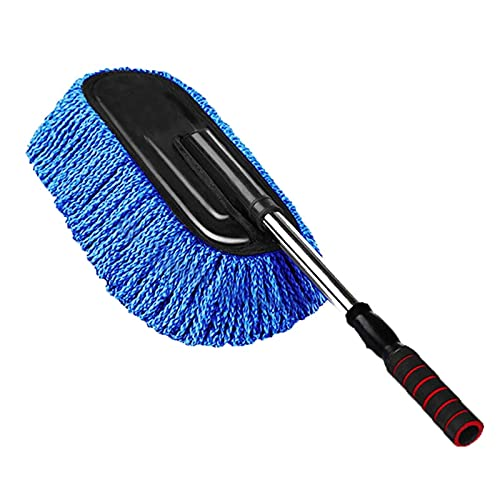 COLiJOL Car Dust Duster Sponges Towels with Handles Multi-Functional Microfiber Car Dust Cleaning Brushes Duster Mop Auto Duster Washing Tools,Blue,40X10X5Cm