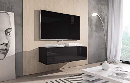 e-Com Rocco Meuble TV, Bas, 100 cm, Noir