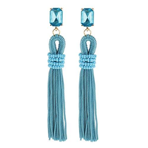 yotijar Pendientes de Borlas Vintage Pendientes Colgantes Regalo Hecho a Mano Mujer Boda - Azul Claro