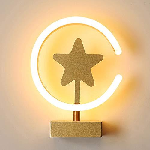 ABTSICA Lámpara De Pared LED, Creatividad Estrella Montaje En Pared Pantalla De Acrílico Lámpara De Mesa Decoración Moderna para El Hogar Lámparas De Mesa De Noche para Dormitorio,B,White Light