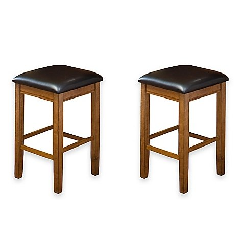 Intercon Furniture Siena 24-Inch Backless Bar Stools in Black (Set of 2)