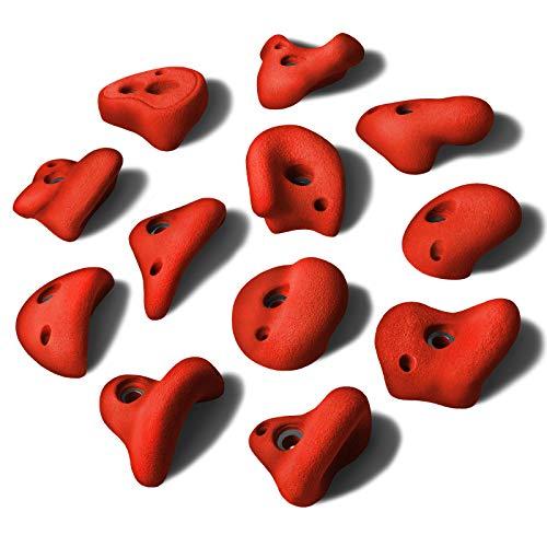 ALPIDEX 12 L Klettergriffe im Set Henkelgriffe für Kinder, können als Henkel und teilweise als Zangen gegriffen Werden, verwendbar auch als Tritte, Farbe:Power Red