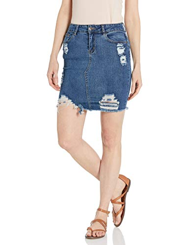 CG JEANS Denim Skirt for Juniors Ripped Distressed Fringe Hem Cute and Sexy, Dark Wash, X-Large