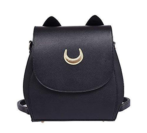 JHVYF Moon Luna Backpack Cute Kitty Cat Shoulder Bag PU Leather Backpack School Bag Black 3034
