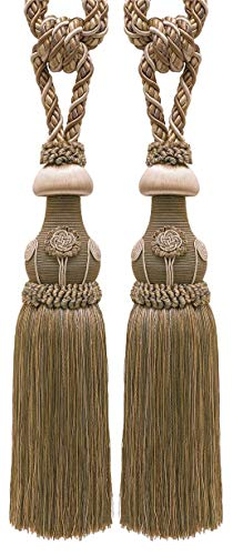 DÉCOPRO Pair of Decorative Beige Multi Tone Curtain & Drapery Tassel Tieback /30cm Tassel, 81cm Spread (Embrace), 11 Metersm Cord, Baroque Collection Style# TBBL-1 Color: Sandstone 7245