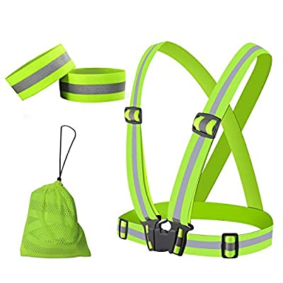 MuiSci Reflective Gear, Safety Vest with 360° High Visibility, Reflective Running Vest with Adjustable Elastic Belt for Men, Women, Runners, Night Walkers, Bikers, Fits Jogging, Cycling, Dog Walking