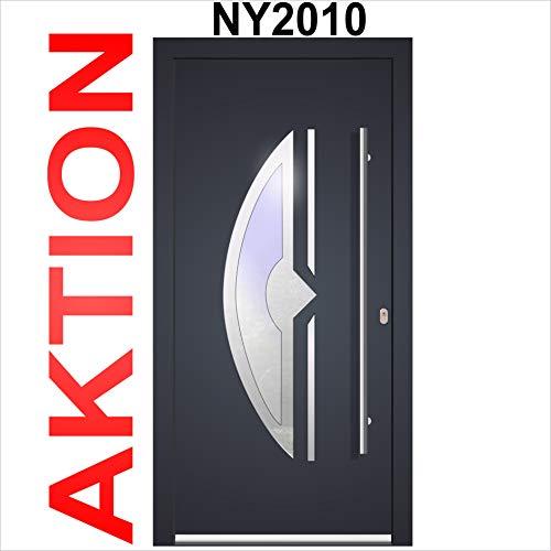 Haustür Welthaus WH75 Standard Aluminium mit Kunststoff NY2010 Amsterdam Tür 1100x2100mm DIN Rechts Farbe aussen anthrazit Innen weiß außengriff BGR1400 innendrucker M45 Zylinder 5 Schlüßel