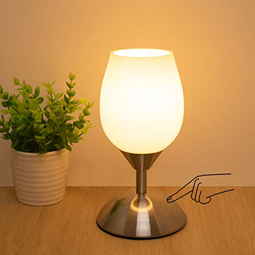 Boncoo Dimmable Touch Control Table Lamp, Small Touch Lamp with White Opal...