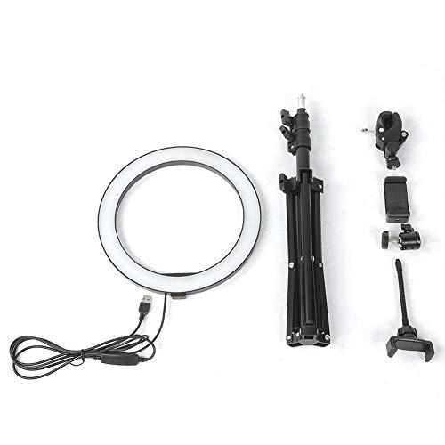 Ringlicht-Set-10-Zoll-dimmbare LED-Ringfülllicht USB-Kamera-Videolampe mit Stativ-Telefonclip-Set