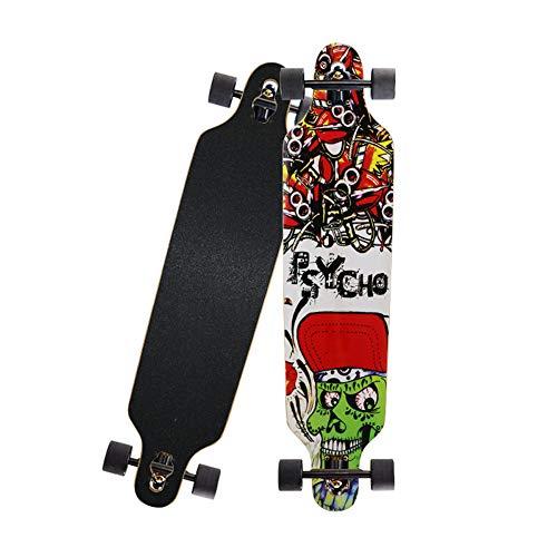 Monopatín de Longboard 41'Cuatro Ruedas de Acero al Carbono Soporte de Pintura con Longboard Scooter Deportivo Profesional para niñas Muchacho Juvenil Adulto Principiante,Verde
