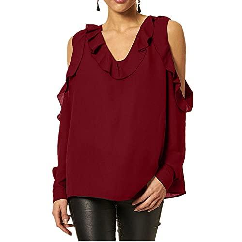 Camiseta Mujer Sexy Suelta para Mujer Top Moda De Verano Cuello Redondo Sin...