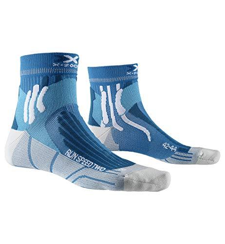 X-Socks Run Speed Two Socks, Unisex – Adulto, Teal Blue/Pearl Grey, 42-44