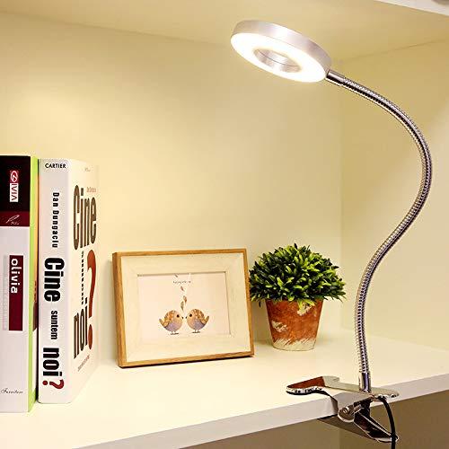 DLLT 6W LED Klemmlampe Bett USB Klemmleuchte Kinder, 360° flexibler Schwanenhals, 480LM, Leselampe Schreibtisch mit 2 Lichtfarben Kaltweiß/Warmweiß für Lesen Studieren Buch Kinderzimmer(Kein Adapter)